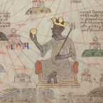 Detail showing Mansa Musa sitting on a throne and holding a gold coin