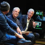 Chefs Masa Takayama (left), Eric Ripert and Anthony Bourdain chat during a screening of Anthony Bourdain: Parts Unknown in 2016 in New York City.