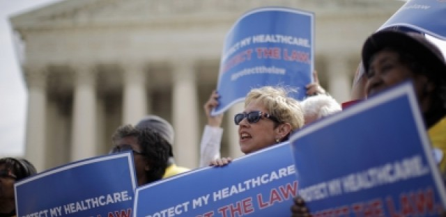 Supporters of health care reform rallied in front of the Supreme Court in Washington earlier this week.