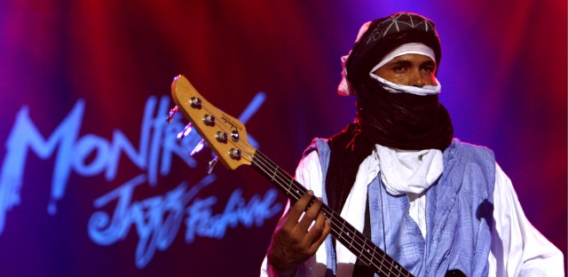Eyadou Ag Leche, member of Tuareg band Tinariwen from Mali, performs on Stravinski stage, during the 40th Montreux Jazz Festival, in Montreux, Switzerland, Monday, July 10, 2006.