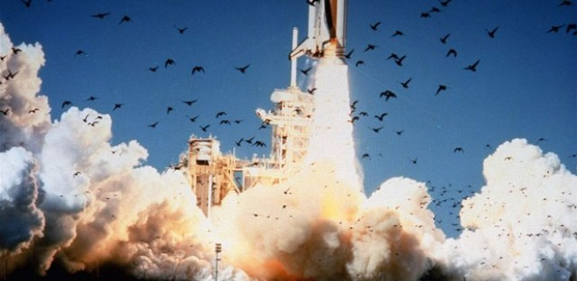The space shuttle Challenger lifts off from Kennedy Space Center in Florida on Jan. 28, 1986. The entire crew of seven was lost in an explosion 73 seconds into the launch.