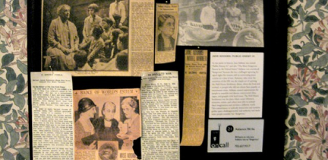 Newspaper clippings about Jane Addams as a social reformer are on display at the Hull-House Museum.