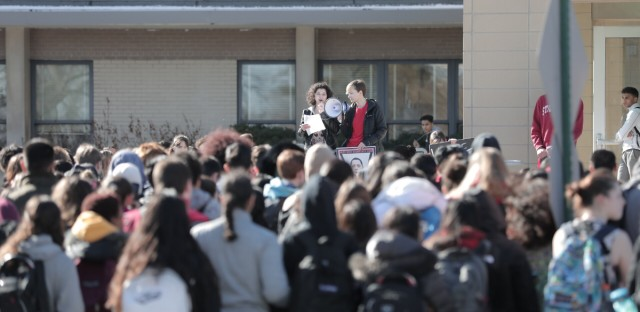 Hundreds of Niles West students participated in Wednesday's student lead gun violence protests.