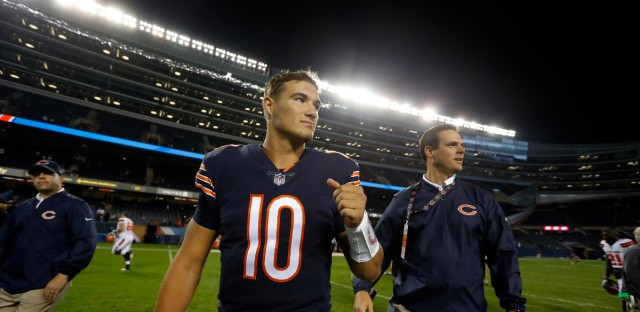 Chicago Bears quarterback Mitchell Trubisky after an NFL preseason football game between the Chicago Bears and the Cleveland Browns, on Thursday, Aug. 31, 2017, in Chicago.