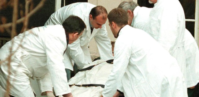 Researchers loading the more than 5,300-year-old mummy known as Otzi into a specially designed, refrigerated crate for his trip to the archeology museum in Bolzano, Italy on Friday January 16, 1998.