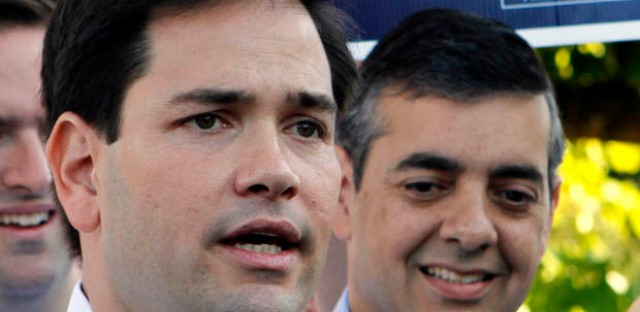 Florida U.S. Sen. Marco Rubio campaigning for embattled Rep. David Rivera in 2010. Rivera is being investigated for allegedly running a shadow campaign in his quest for reelection.