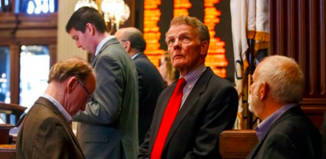 House Speaker Michael Madigan (D-Chicago) during a vote that passed a budget package that included a $5 billion income tax increase. Gov. Bruce Rauner vetoed the budget proposals.