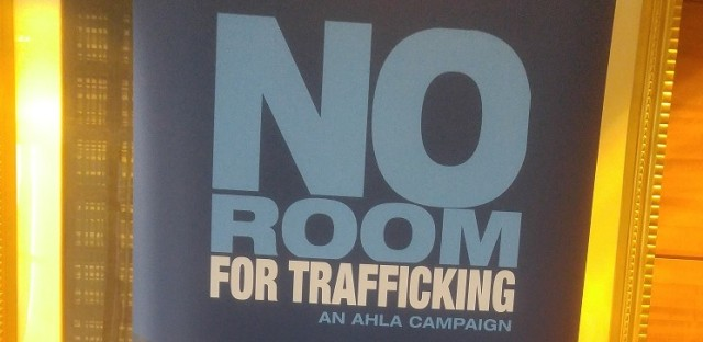 No Room For Trafficking sign at human trafficking awareness training for Chicago hotel workers