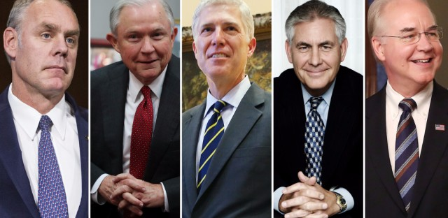 l-r: Ryan Zinke, the nominee for Interior secretary; Attorney General Jeff Sessions; Judge Neil Gorsuch, Supreme Court nominee; Secretary of State Rex Tillerson and Secretary of Health and Human Services Tom Price.