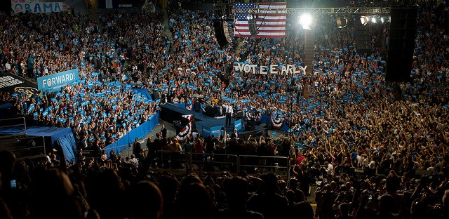 President Barack Obama campaigning in Boudler, Colorado on November 1.