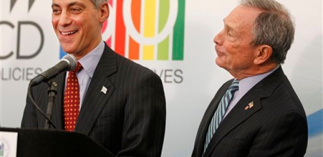 Chicago Major Rahm Emanuel and New York Mayor Michael Bloomberg joke in March 2011; Bloomberg was in town for a meeting of the Organization for Economic Co-operation and Development.