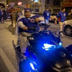 Cubs fans celebrate in Wrigleyville after the teams wins National League pennant.