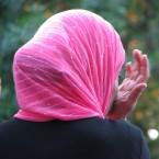 A woman wearing a headscarf.