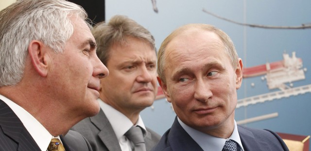 Russian President Vladimir Putin (right) and ExxonMobil CEO Rex Tillerson (left) attend a signing ceremony of an agreement between state-controlled Russian oil company Rosneft and ExxonMobil in 2012 at the Black Sea port of Tuapse, southern Russia.
