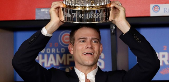 Chicago Cubs president for baseball operations Theo Epstein celebrates after Game 7 of the Major League Baseball World Series Thursday, Nov. 3, 2016, in Cleveland. The Cubs won 8-7 in 10 innings to win the series 4-3.