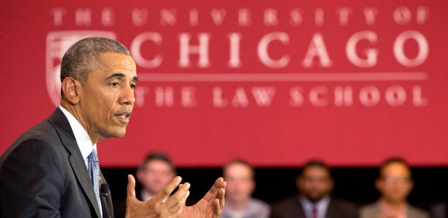 President Barack Obama speaks about his Supreme Court nominee Merrick Garland, Thursday, April 7, 2016, at the University of Chicago Law School.