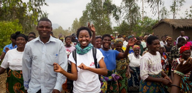 Researcher Chenai Mathabire, center, takes part in an HIV awareness campaign in Malawi in 2016.