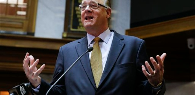 Senate President Pro Tem David C. Long, R-Fort Wayne, discusses the GOP-sponsored bill that would extend civil rights protections to gay, lesbian, bisexual and transgender people and would also repeal most of last year's controversial religious objections law, during a press conference at the Statehouse in Indianapolis, Thursday, Jan. 28, 2016.